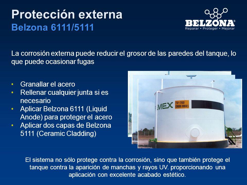 Protección externa Belzona 6111/5111 La corrosión externa puede reducir el grosor de las paredes del tanque, lo que puede ocasionar fugas Granallar el