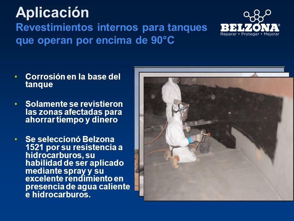Corrosión en la base del tanque Solamente se revistieron las zonas afectadas para ahorrar tiempo y dinero Se seleccionó Belzona 1521 por su resistenci