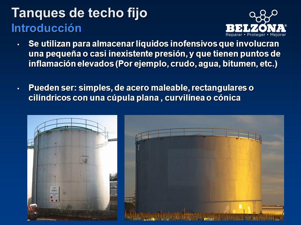 Tanques de techo fijo Introducción Se utilizan para almacenar líquidos inofensivos que involucran una pequeña o casi inexistente presión, y que tienen