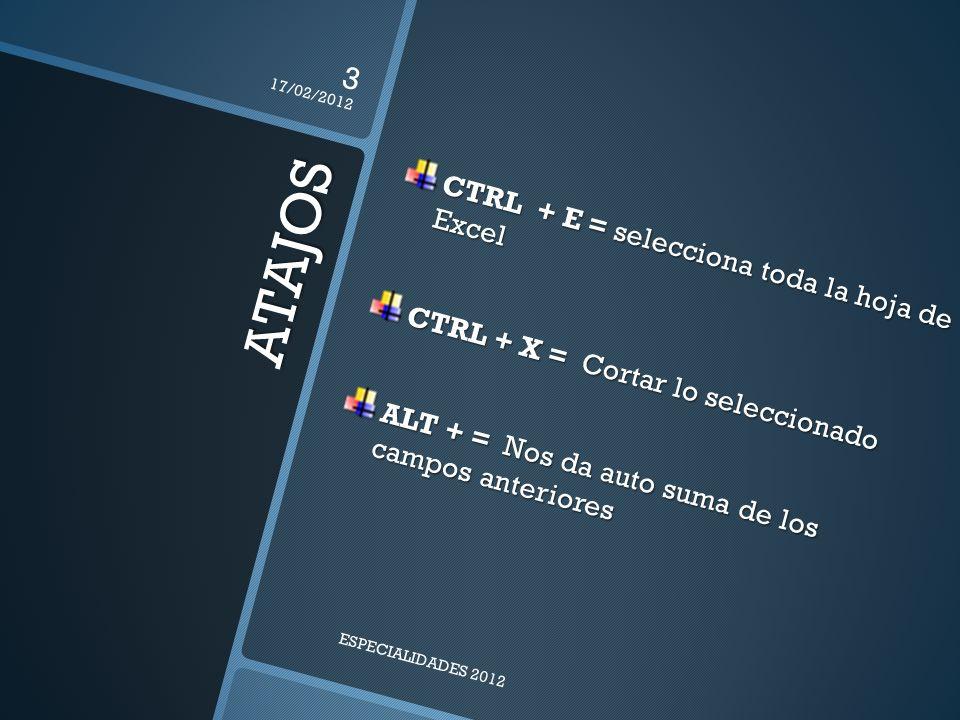 ATAJOS CTRL + E = selecciona toda la hoja de Excel CTRL + X = Cortar lo seleccionado ALT + = Nos da auto suma de los campos anteriores 17/02/2012 3 ESPECIALIDADES 2012