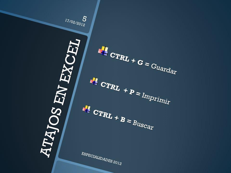 ATAJOS EN EXCEL CTRL + G = Guardar CTRL + G = Guardar CTRL + P = Imprimir CTRL + P = Imprimir CTRL + B = Buscar CTRL + B = Buscar 17/02/2012 5 ESPECIALIDADES 2012