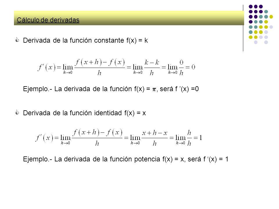 Cálculo de derivadas Derivada de la función constante f(x) = k Ejemplo.- La derivada de la función f(x) =, será f (x) =0 Derivada de la función identi
