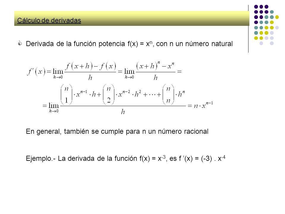 Cálculo de derivadas Derivada de la función potencia f(x) = x n, con n un número natural En general, también se cumple para n un número racional Ejemp