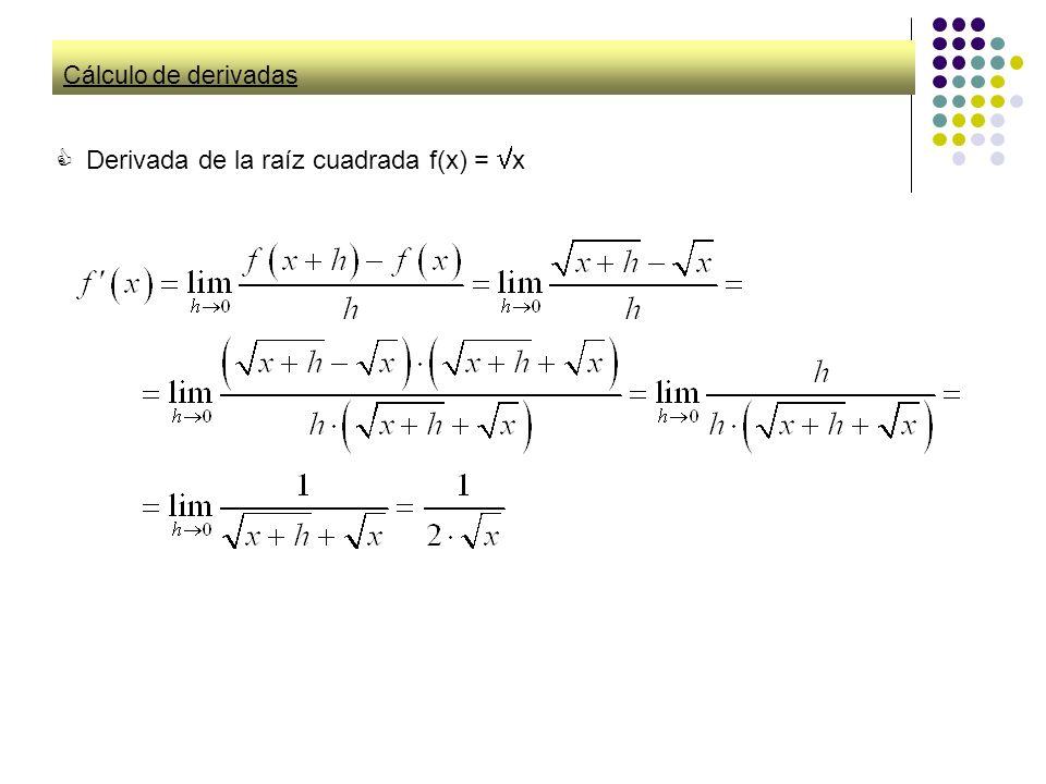 Cálculo de derivadas Derivada de la raíz cuadrada f(x) = x