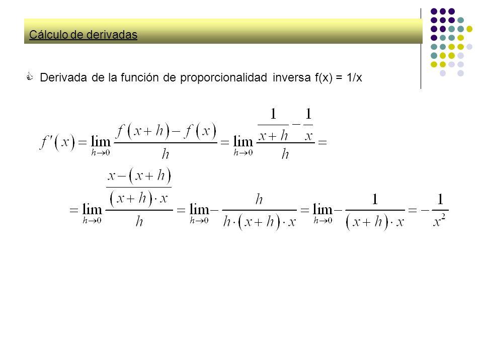 Cálculo de derivadas Derivada de la función de proporcionalidad inversa f(x) = 1/x