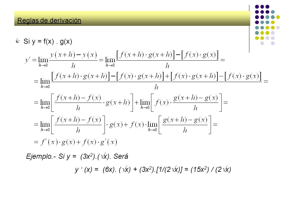 Reglas de derivación Si y = f(x). g(x) Ejemplo.- Si y = (3x 2 ).( x). Será y (x) = (6x). ( x) + (3x 2 ).[1/(2 x)] = (15x 2 ) / (2 x)