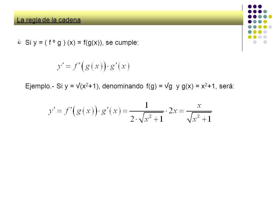 La regla de la cadena Si y = ( f º g ) (x) = f(g(x)), se cumple: Ejemplo.- Si y = (x 2 +1), denominando f(g) = g y g(x) = x 2 +1, será: