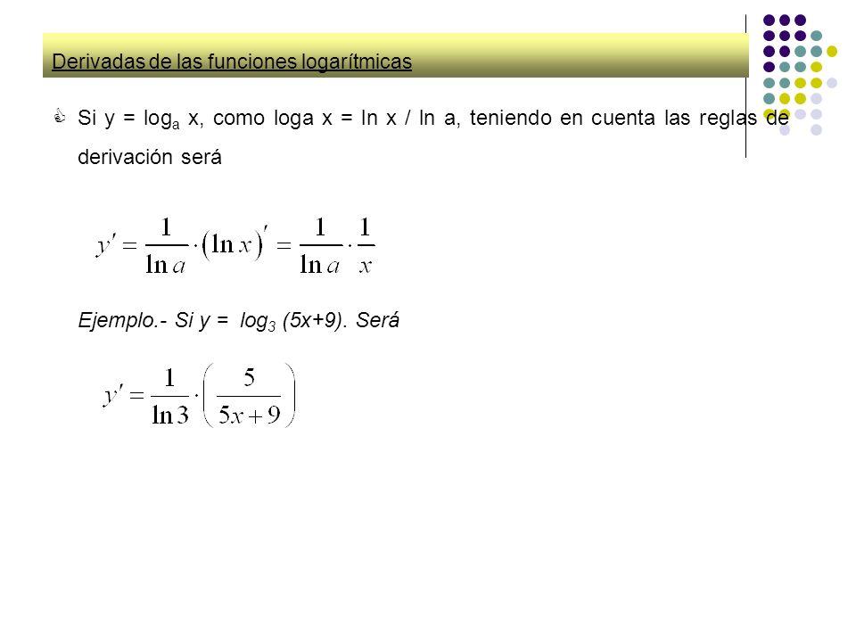 Derivadas de las funciones logarítmicas Si y = log a x, como loga x = ln x / a, teniendo en cuenta las reglas de derivación será Ejemplo.- Si y = log