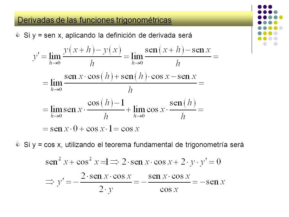 Derivadas de las funciones trigonométricas Si y = sen x, aplicando la definición de derivada será Si y = cos x, utilizando el teorema fundamental de t