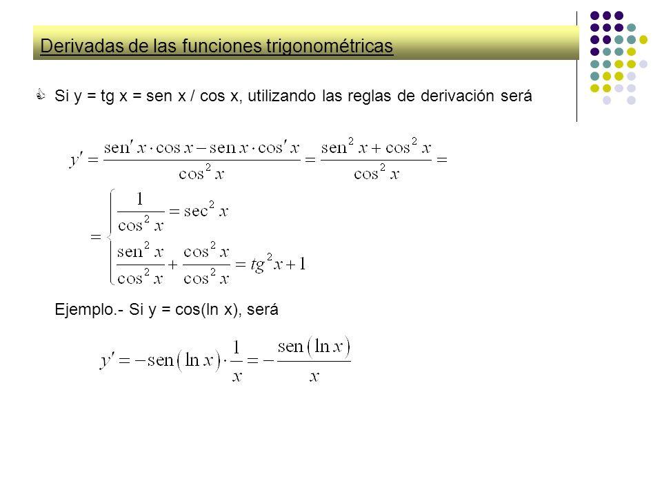 Derivadas de las funciones trigonométricas Si y = tg x = sen x / cos x, utilizando las reglas de derivación será Ejemplo.- Si y = cos(ln x), será