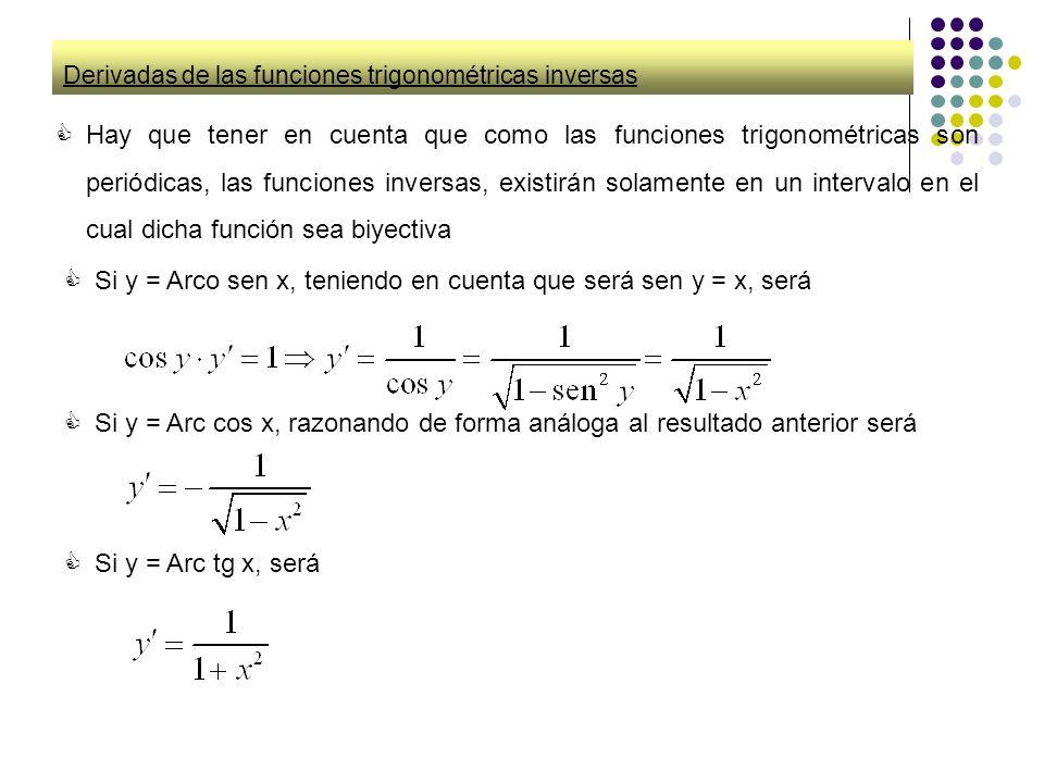 Derivadas de las funciones trigonométricas inversas Hay que tener en cuenta que como las funciones trigonométricas son periódicas, las funciones inver
