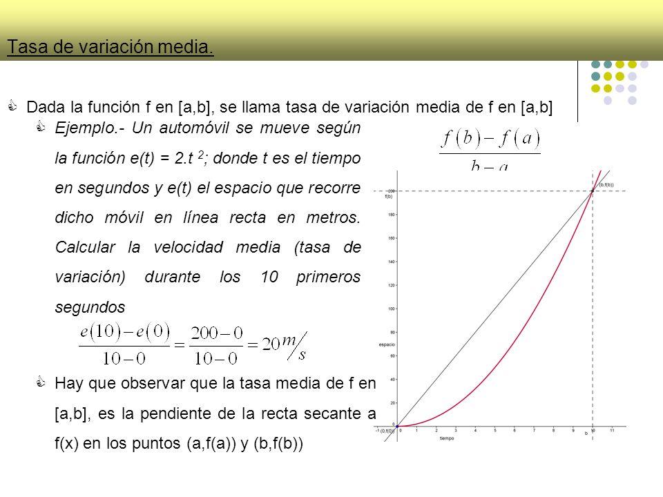 Tasa de variación media. Dada la función f en [a,b], se llama tasa de variación media de f en [a,b] Ejemplo.- Un automóvil se mueve según la función e