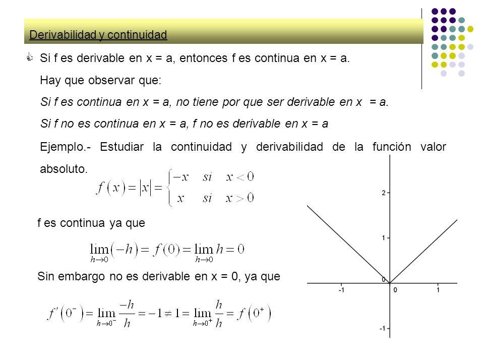 Derivabilidad y continuidad Si f es derivable en x = a, entonces f es continua en x = a. Hay que observar que: Si f es continua en x = a, no tiene por