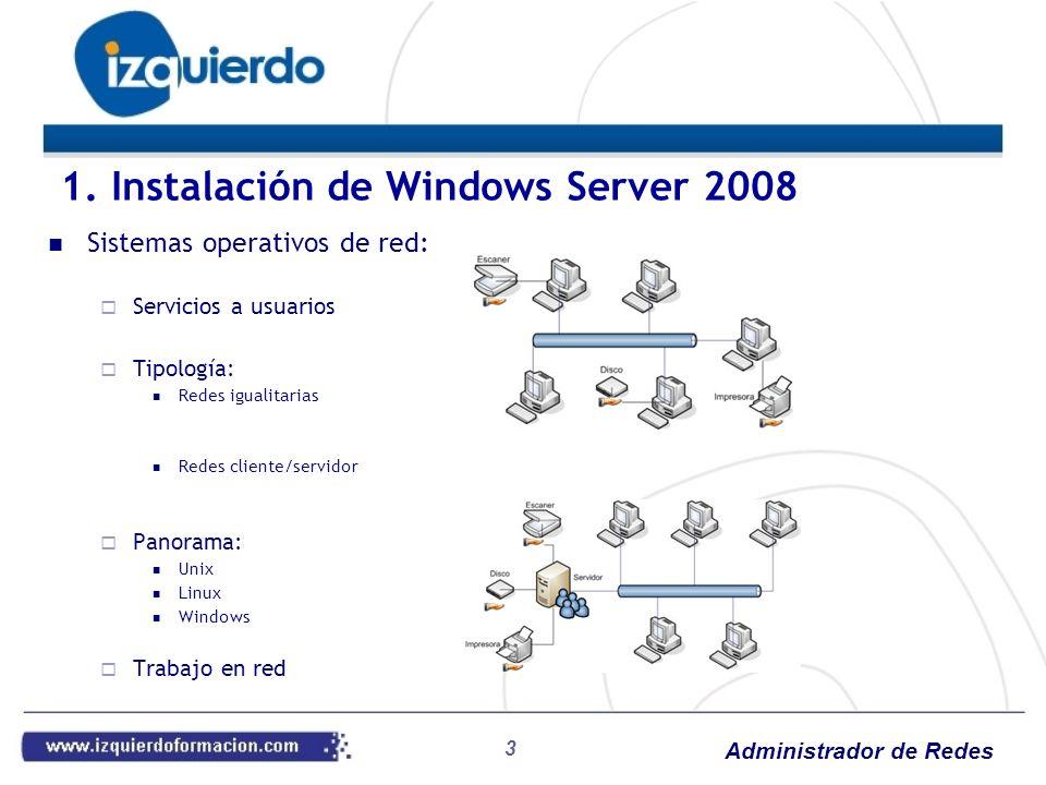 Administrador de Redes 34 DHCP: Instalación Como función del servidor Windows 2008 Asistente Activar características de Windows (en Programas del Panel de Control) Recordar Autorizar por AD DHCP: Conceptos Ámbito: Conjunto de direcciones a repartir Opciones de ámbito: Enrutador Servidores DNS Nombre de dominio Servidores WINS Más: Exclusiones y reservas Duración Más opciones 4.