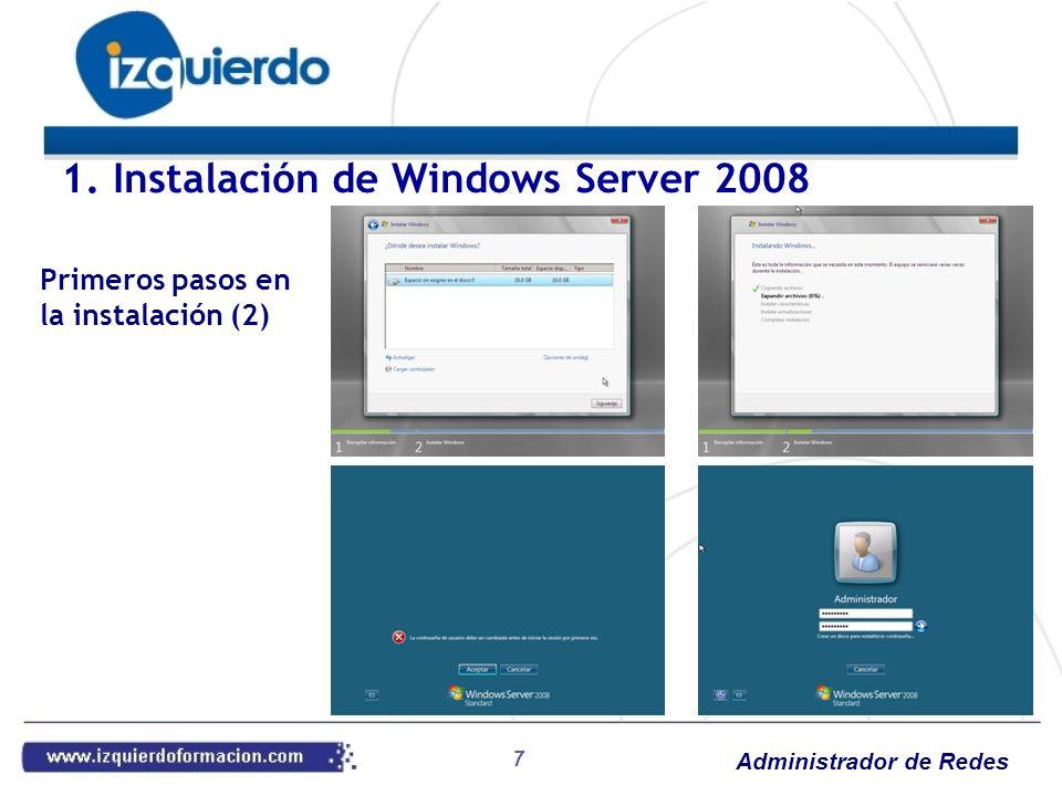 Administrador de Redes 38 Práctica 16: DHCP Instalar el servicio DHCP en el Windows Server 2008 Crear un ámbito de direcciones (172.17.2.0/24) Autorizar el servicio Poner el cliente Windows 7 con configuración automática IP para obtenerla por DHCP Práctica 17: Reservas y exclusiones DHCP Crear una exclusión de IP en el ámbito (desde 172.17.2.1 a 172.17.2.100) Renovar la IP en el cliente Crear una reserva para el cliente con IP 172.17.2.200 Renovar la IP en el cliente Práctica 18: Opciones de ámbito Poner caducidad de la concesión a 8 horas Agregar un servidor horario Renovar la IP en el cliente 4.