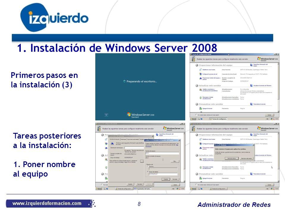 Administrador de Redes 39 Práctica 19: WINS Instalar el servicio WINS en el Windows Server 2008 Ver la administración Buscar registros activos Agregar la opción en DHCP de Servidor WINS Renovar la IP en el cliente Mostrar de nuevo los registros activos Añadir una entrada manual a los registros Comprobar la conectividad para la nueva entrada Práctica 20: DNS Ver la administración de DNS Visualizar las entradas del dominio Crear entradas de tipo A y CNAME en el dominio AD Probar desde clientes Ver la caché de búsquedas 4.