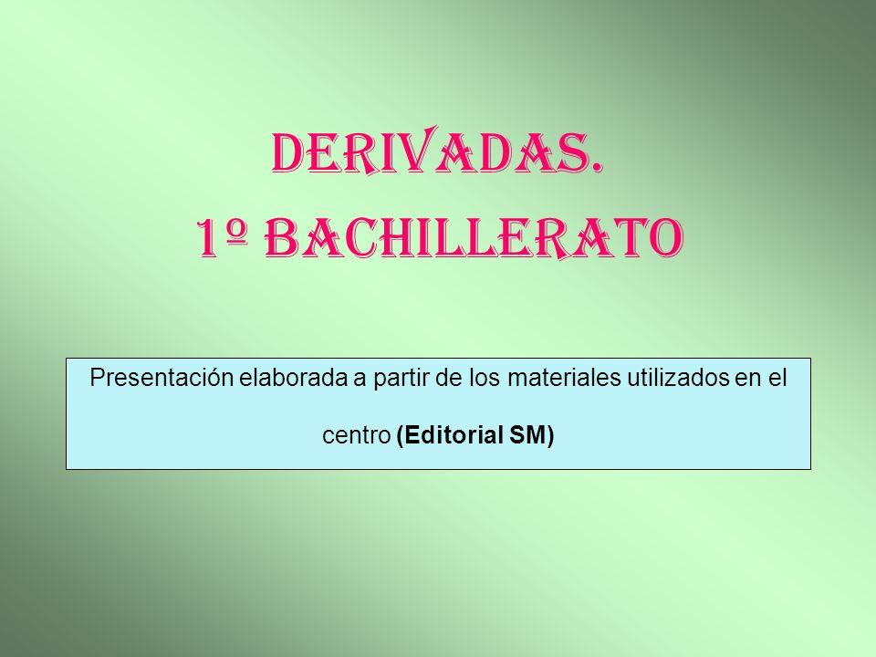 Presentación elaborada a partir de los materiales utilizados en el centro (Editorial SM) Derivadas. 1º Bachillerato