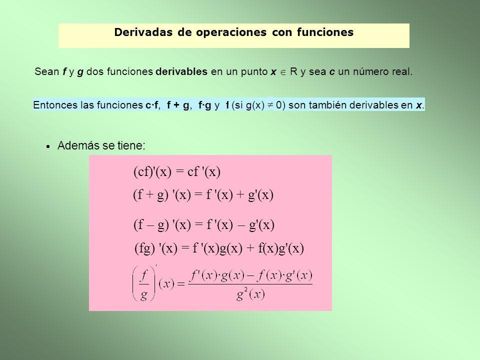 Derivadas de operaciones con funciones Sean f y g dos funciones derivables en un punto x R y sea c un número real. Entonces las funciones c·f, f + g,