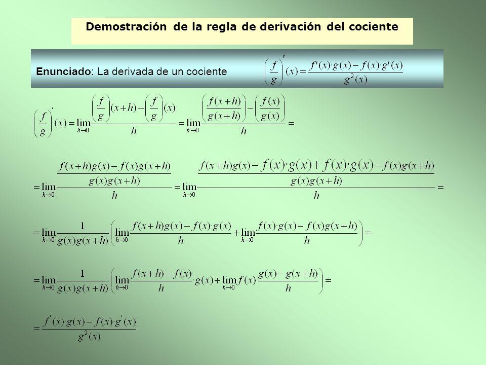 Demostración de la regla de derivación del cociente Enunciado: La derivada de un cociente