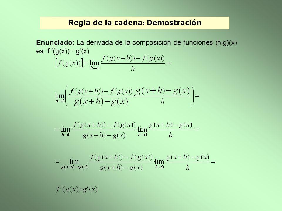 Regla de la cadena : Demostración Enunciado: La derivada de la composición de funciones (f o g)(x) es: f (g(x)) · g(x)