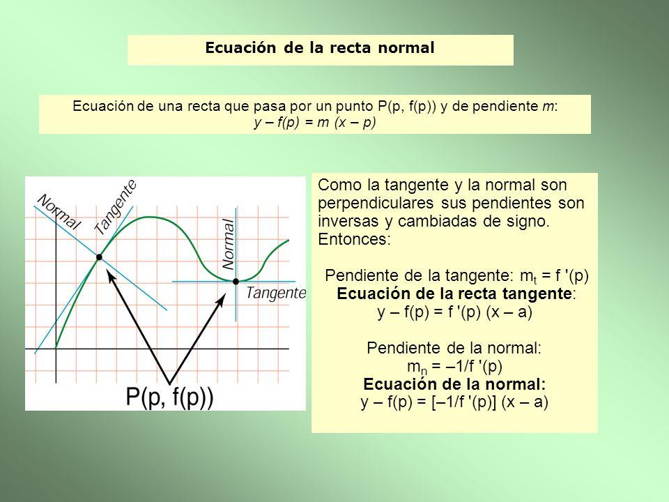 Ecuación de la recta normal Como la tangente y la normal son perpendiculares sus pendientes son inversas y cambiadas de signo. Entonces: Pendiente de