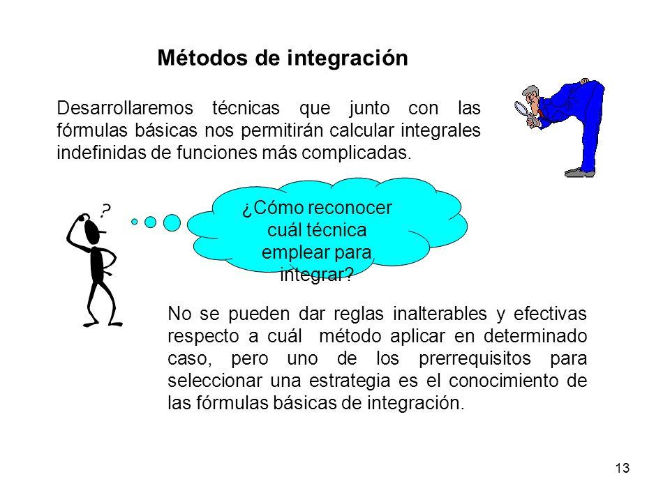 13 Métodos de integración Desarrollaremos técnicas que junto con las fórmulas básicas nos permitirán calcular integrales indefinidas de funciones más
