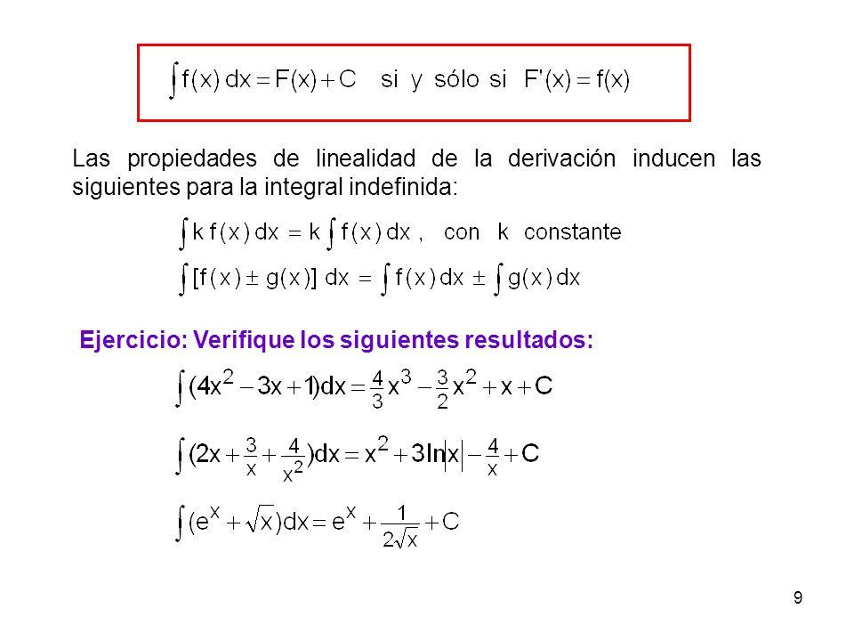 9 Las propiedades de linealidad de la derivación inducen las siguientes para la integral indefinida: Ejercicio: Verifique los siguientes resultados: