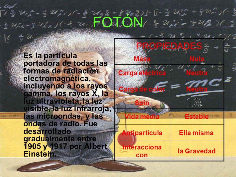 FOTÓN Es la partícula portadora de todas las formas de radiación electromagnética, incluyendo a los rayos gamma, los rayos X, la luz ultravioleta, la