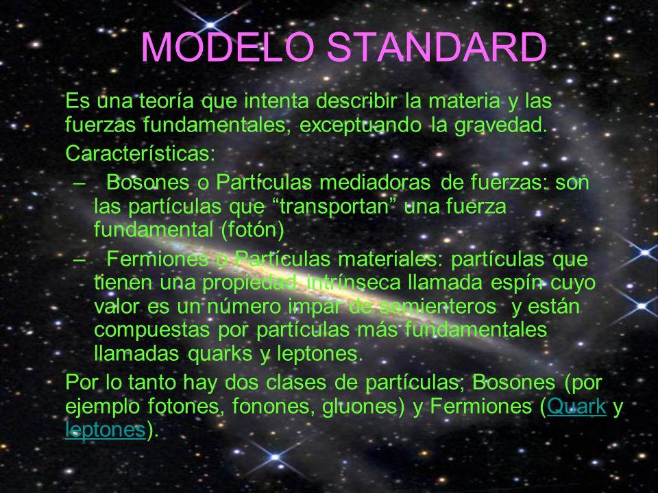 MODELO STANDARD Es una teoría que intenta describir la materia y las fuerzas fundamentales, exceptuando la gravedad. Características: –Bosones o Partí