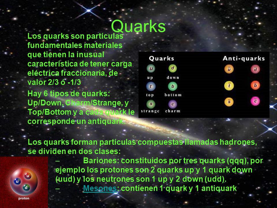 Quarks Los quarks son partículas fundamentales materiales que tienen la inusual característica de tener carga eléctrica fraccionaria, de valor 2/3 ó -