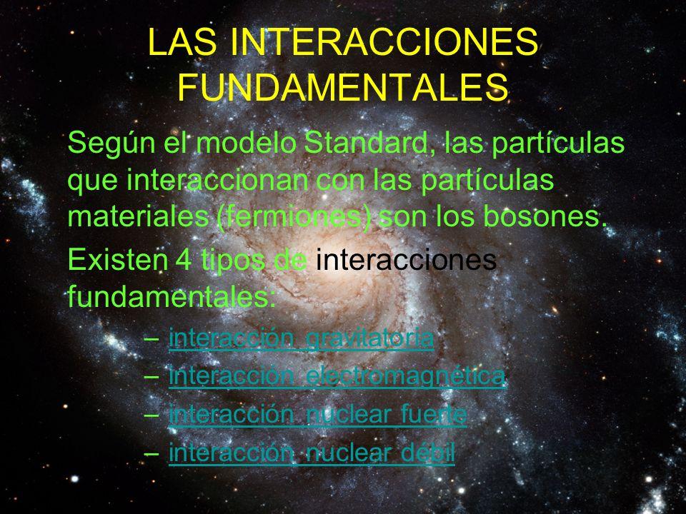 LAS INTERACCIONES FUNDAMENTALES Según el modelo Standard, las partículas que interaccionan con las partículas materiales (fermiones) son los bosones.