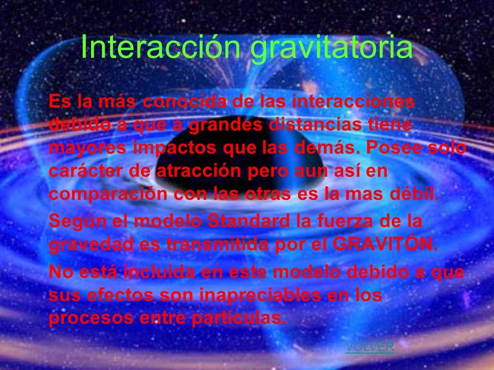 Interacción gravitatoria Es la más conocida de las interacciones debido a que a grandes distancias tiene mayores impactos que las demás. Posee solo ca