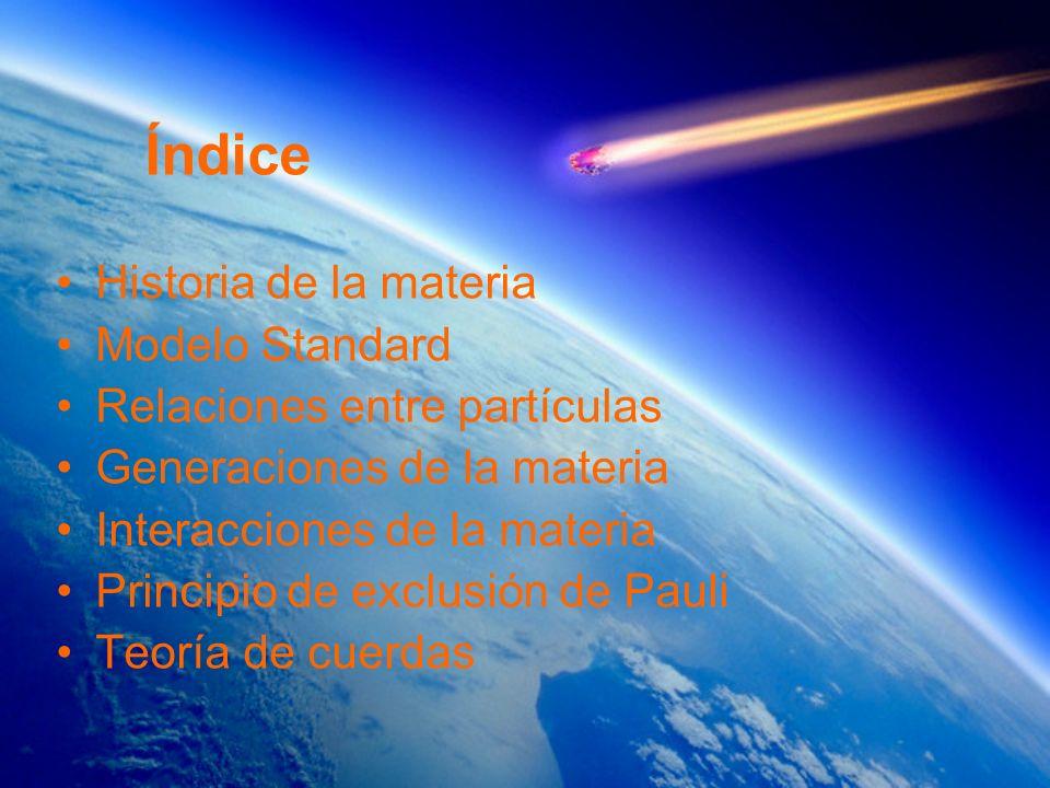 Índice Historia de la materia Modelo Standard Relaciones entre partículas Generaciones de la materia Interacciones de la materia Principio de exclusió