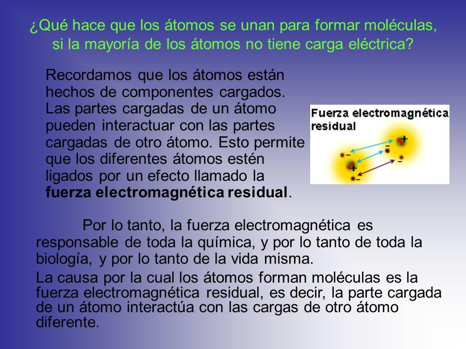 ¿Qué hace que los átomos se unan para formar moléculas, si la mayoría de los átomos no tiene carga eléctrica? Recordamos que los átomos están hechos d