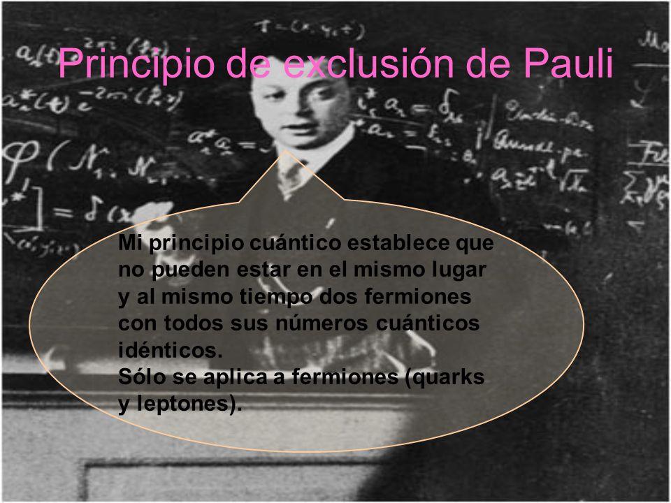 Principio de exclusión de Pauli Mi principio cuántico establece que no pueden estar en el mismo lugar y al mismo tiempo dos fermiones con todos sus nú
