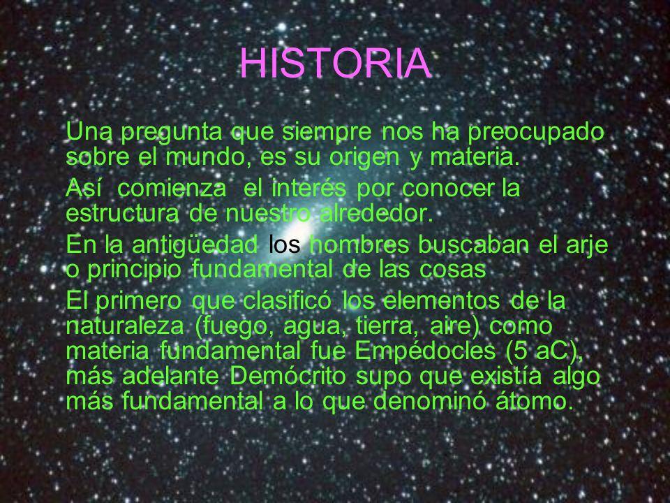HISTORIA Una pregunta que siempre nos ha preocupado sobre el mundo, es su origen y materia. Así comienza el interés por conocer la estructura de nuest