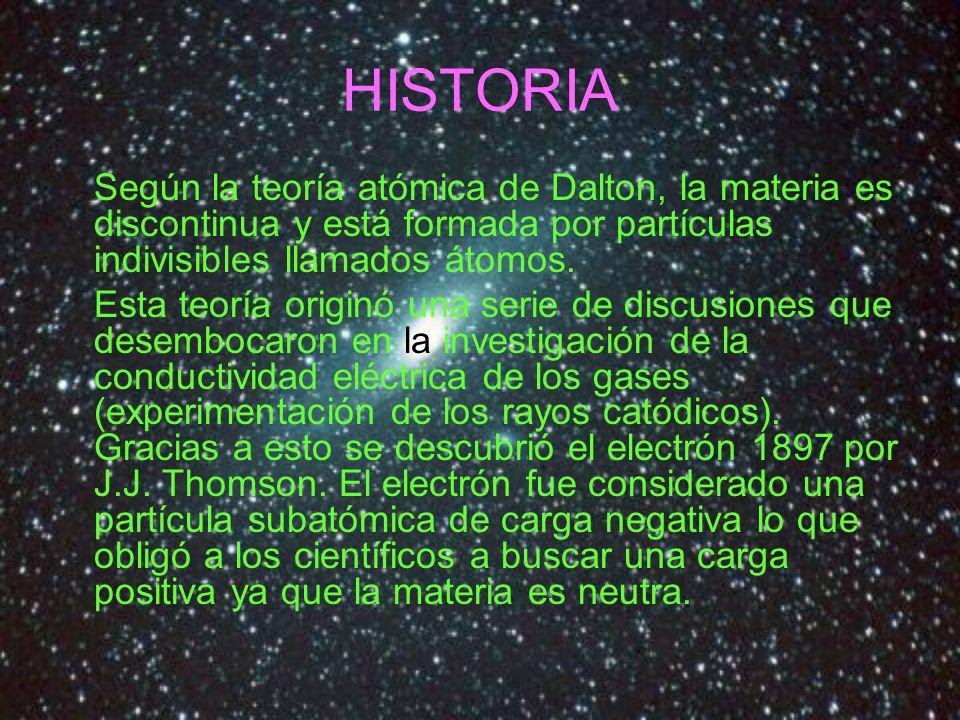 HISTORIA Según la teoría atómica de Dalton, la materia es discontinua y está formada por partículas indivisibles llamados átomos. Esta teoría originó
