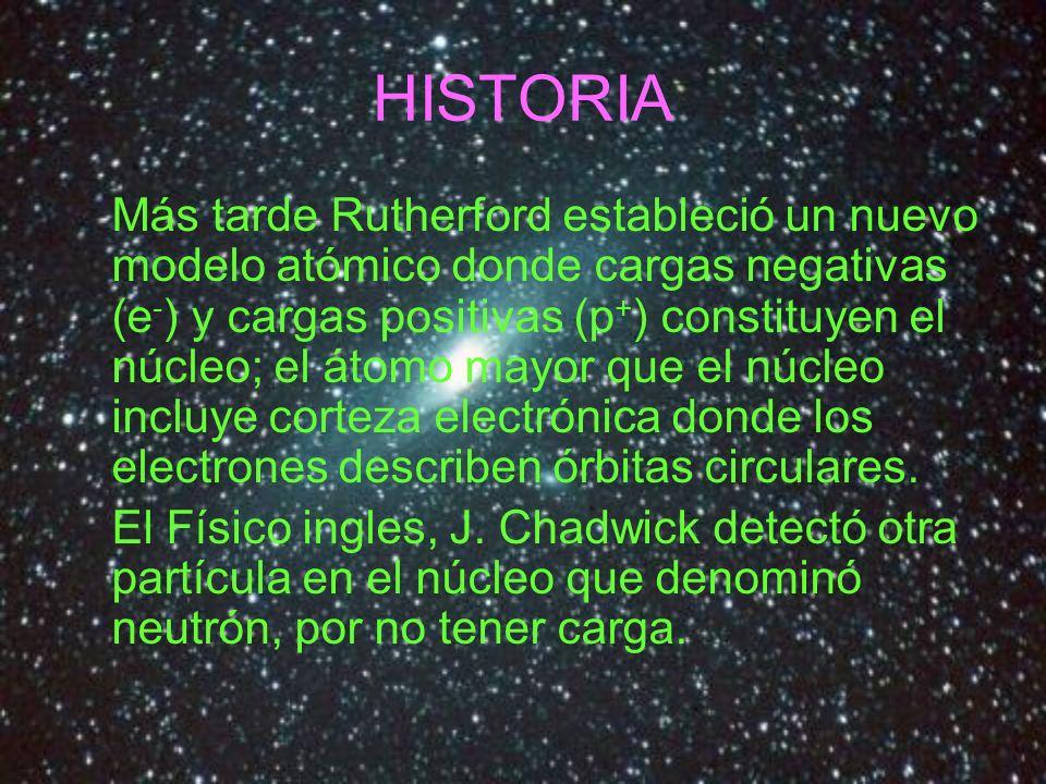 HISTORIA Más tarde Rutherford estableció un nuevo modelo atómico donde cargas negativas (e - ) y cargas positivas (p + ) constituyen el núcleo; el áto