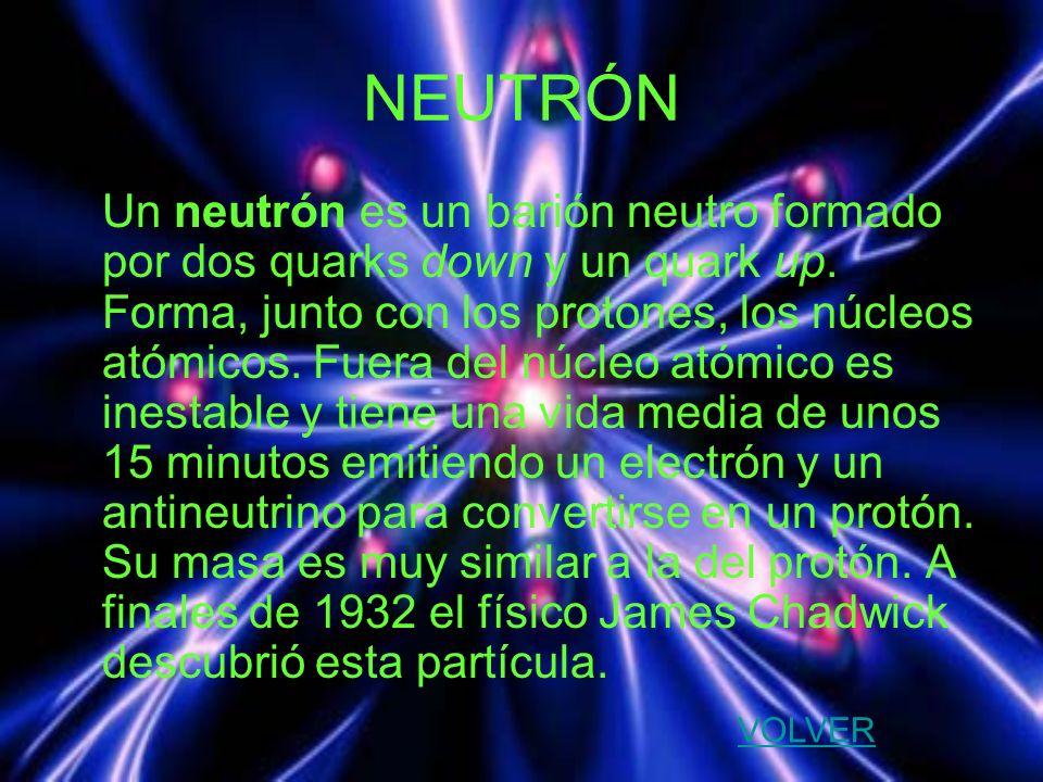 NEUTRÓN Un neutrón es un barión neutro formado por dos quarks down y un quark up. Forma, junto con los protones, los núcleos atómicos. Fuera del núcle