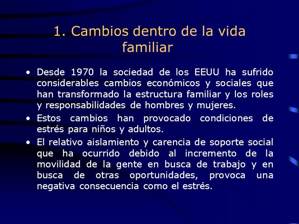 1. Cambios dentro de la vida familiar Desde 1970 la sociedad de los EEUU ha sufrido considerables cambios económicos y sociales que han transformado l