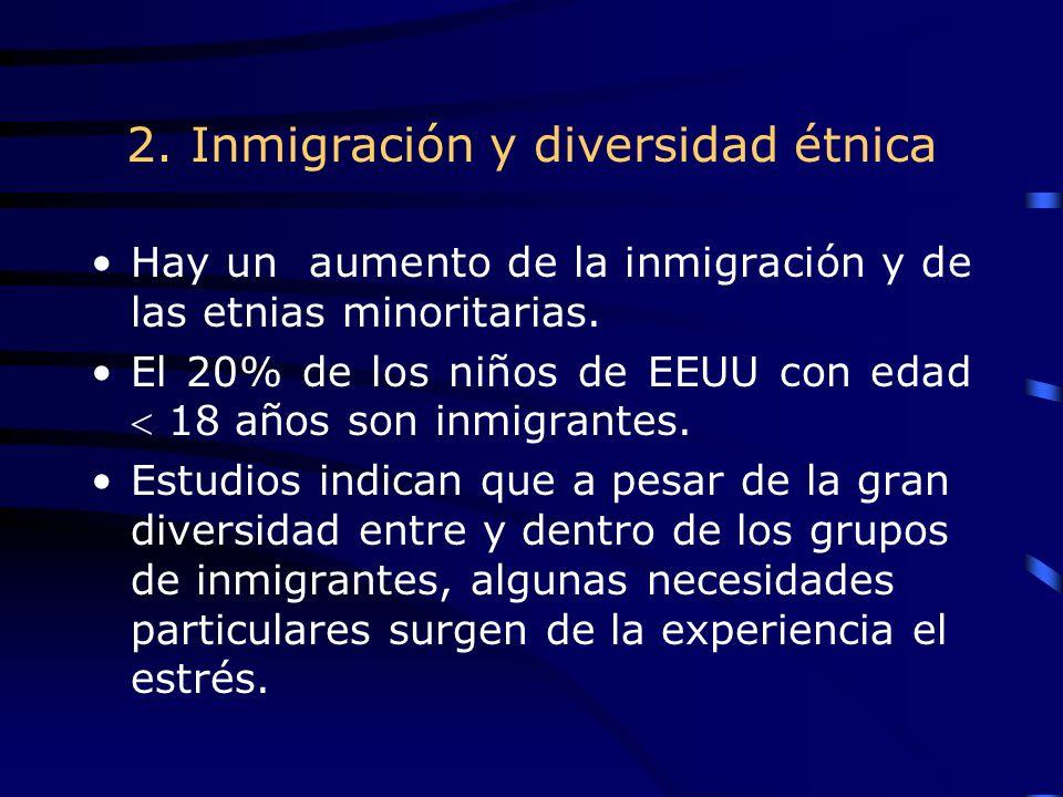 2. Inmigración y diversidad étnica Hay un aumento de la inmigración y de las etnias minoritarias.