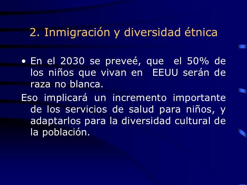 2. Inmigración y diversidad étnica En el 2030 se preveé, que el 50% de los niños que vivan en EEUU serán de raza no blanca. Eso implicará un increment