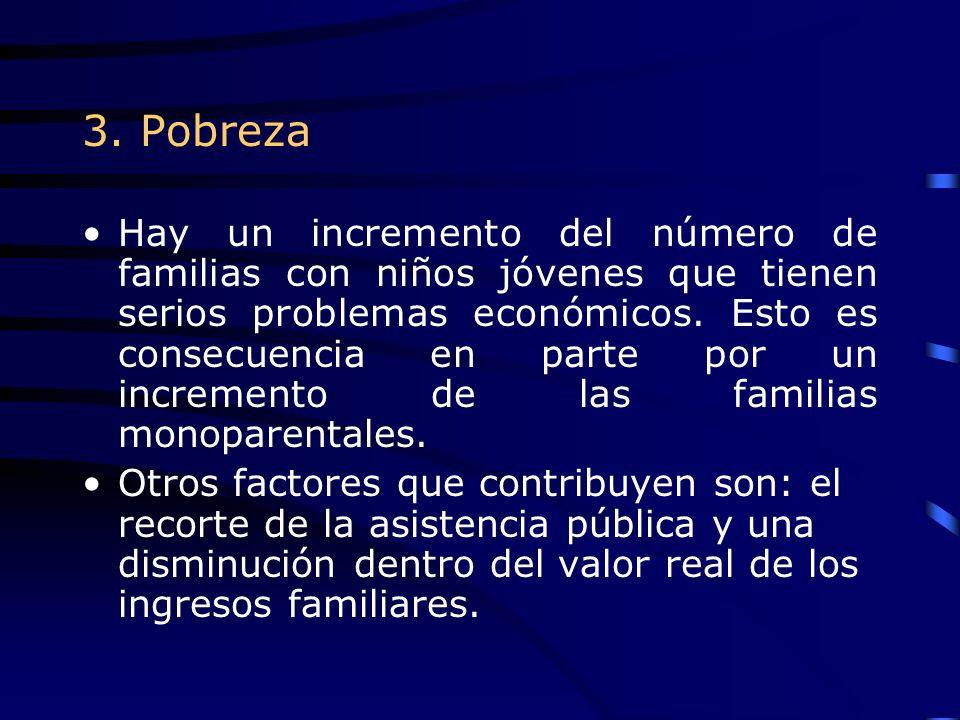 3. Pobreza Hay un incremento del número de familias con niños jóvenes que tienen serios problemas económicos. Esto es consecuencia en parte por un inc