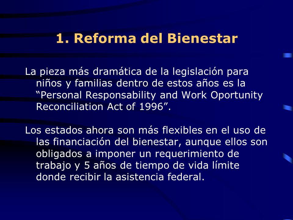 1. Reforma del Bienestar La pieza más dramática de la legislación para niños y familias dentro de estos años es la Personal Responsability and Work Op