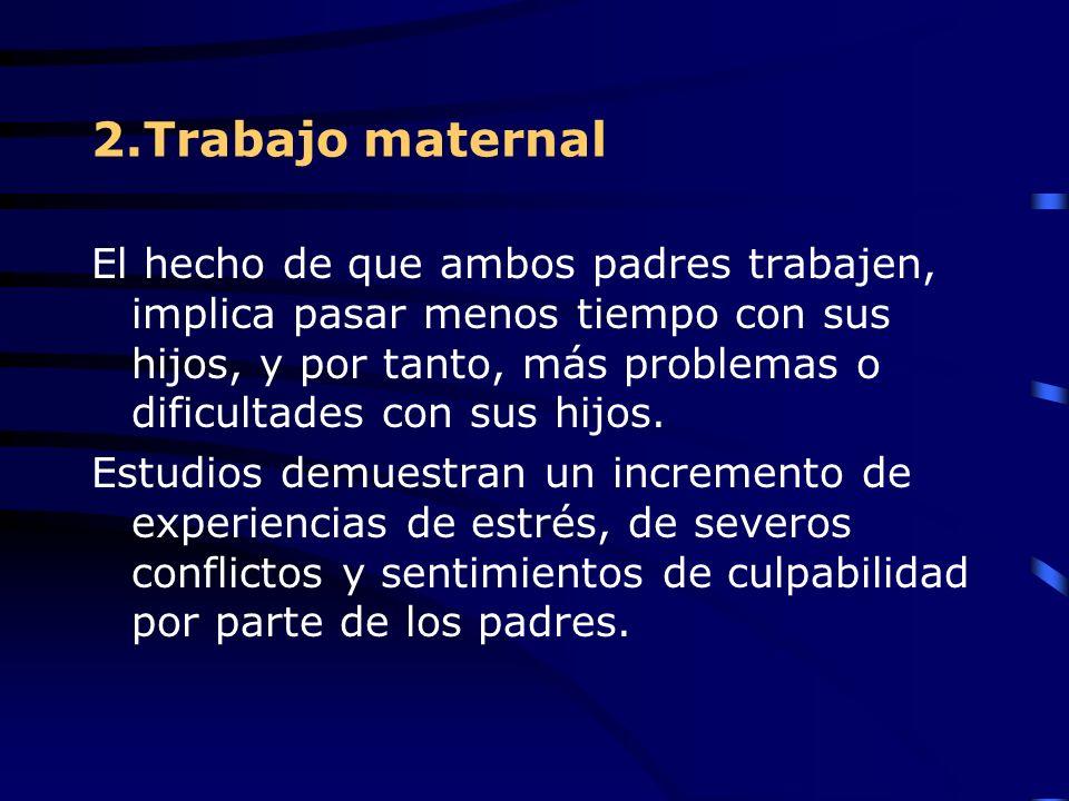 2.Trabajo maternal El hecho de que ambos padres trabajen, implica pasar menos tiempo con sus hijos, y por tanto, más problemas o dificultades con sus hijos.