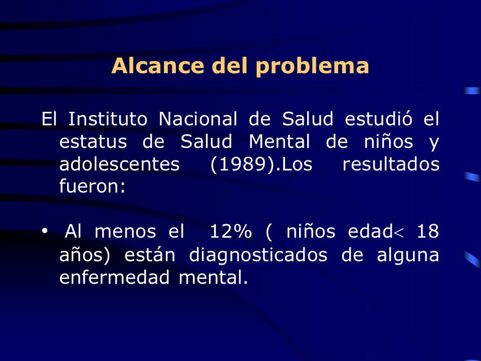 Alcance del problema El Instituto Nacional de Salud estudió el estatus de Salud Mental de niños y adolescentes (1989).Los resultados fueron: Al menos el 12% ( niños edad 18 años) están diagnosticados de alguna enfermedad mental.