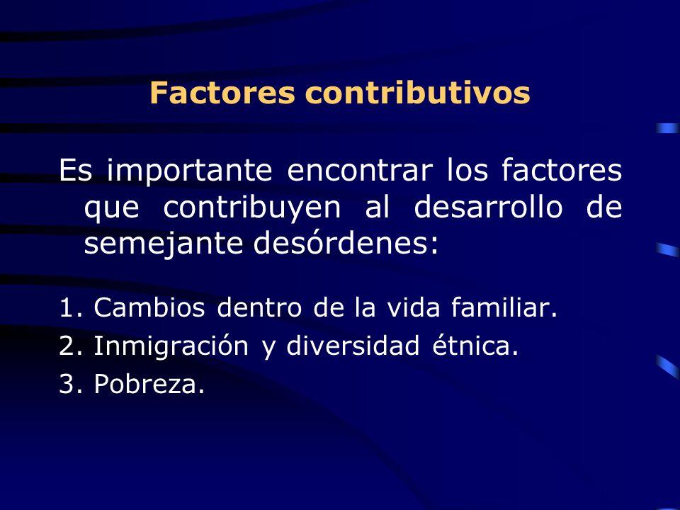 Factores contributivos Es importante encontrar los factores que contribuyen al desarrollo de semejante desórdenes: 1.