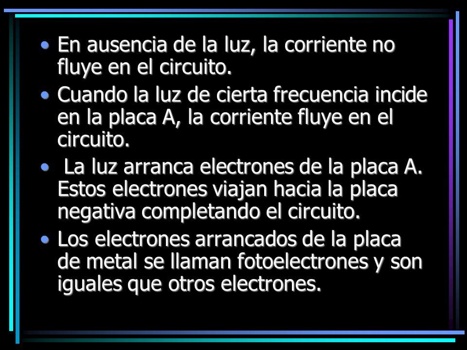 En ausencia de la luz, la corriente no fluye en el circuito.En ausencia de la luz, la corriente no fluye en el circuito. Cuando la luz de cierta frecu