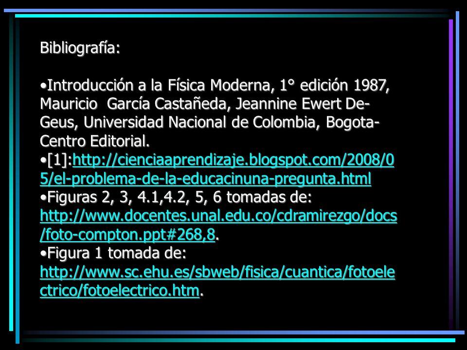 Bibliografía: Introducción a la Física Moderna, 1° edición 1987, Mauricio García Castañeda, Jeannine Ewert De- Geus, Universidad Nacional de Colombia,