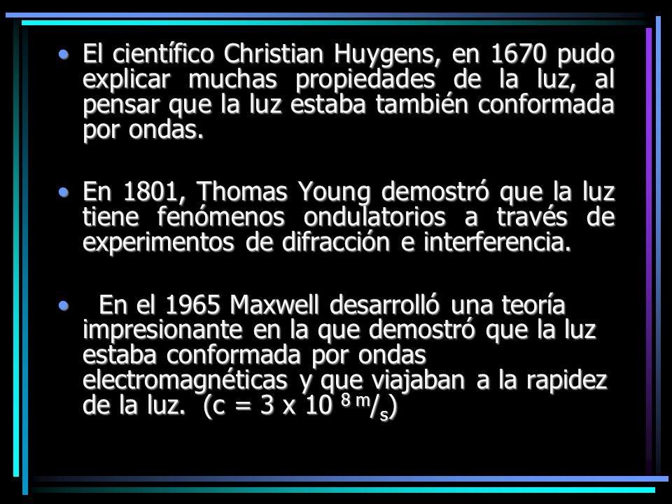 El científico Christian Huygens, en 1670 pudo explicar muchas propiedades de la luz, al pensar que la luz estaba también conformada por ondas.El cient